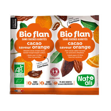 Bio flan non sucré parfum chocolat / orange
