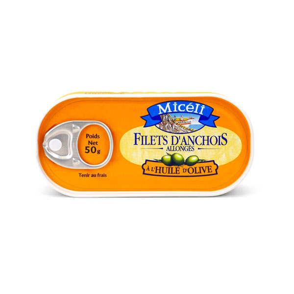 Filets d'anchois allongés à l'huile d'olive