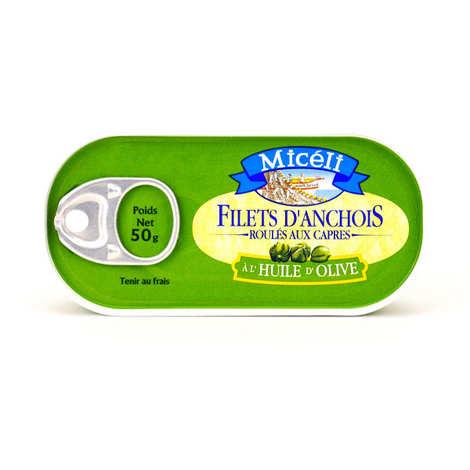 Conserverie Miceli - Filets d'anchois roulés sur câpres à l'huile d'olive