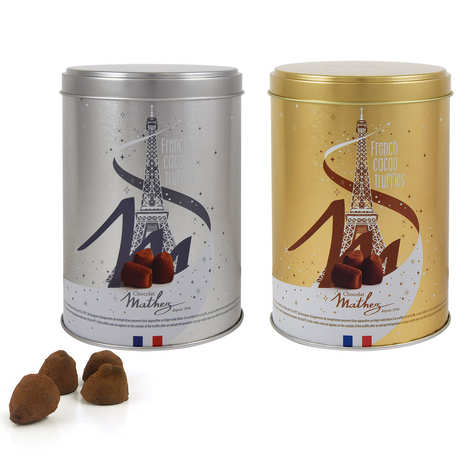 Chocolat Mathez - Truffes fantaisie duo nature & caramel au beurre salé en boites métal