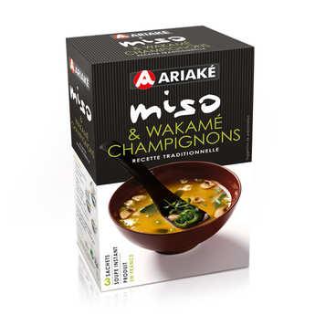 Ariaké Japan - Soupe miso, wakamé et champignons instantanée en sachets