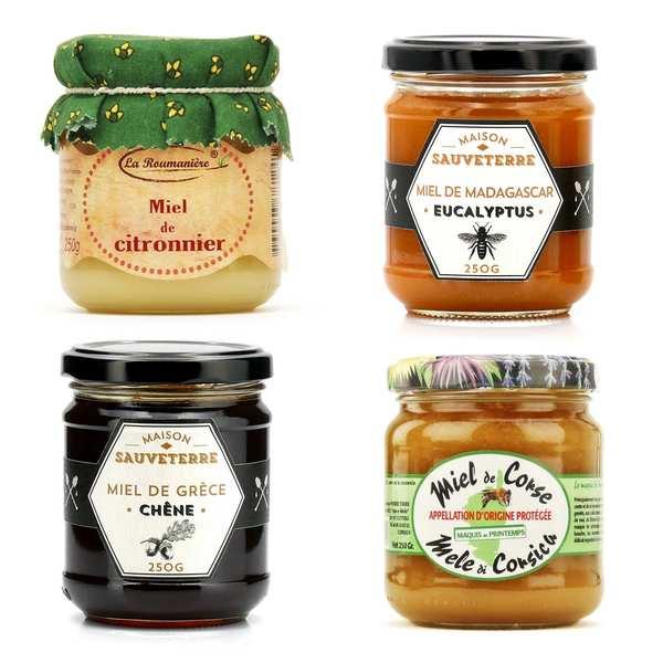 4 Assorted World's Honeys