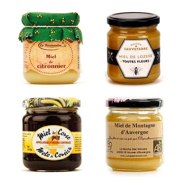 Assortment of 4 delicious honeys