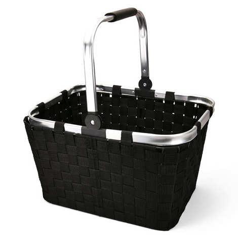- Black Basket With Pliable Aluminium Handles