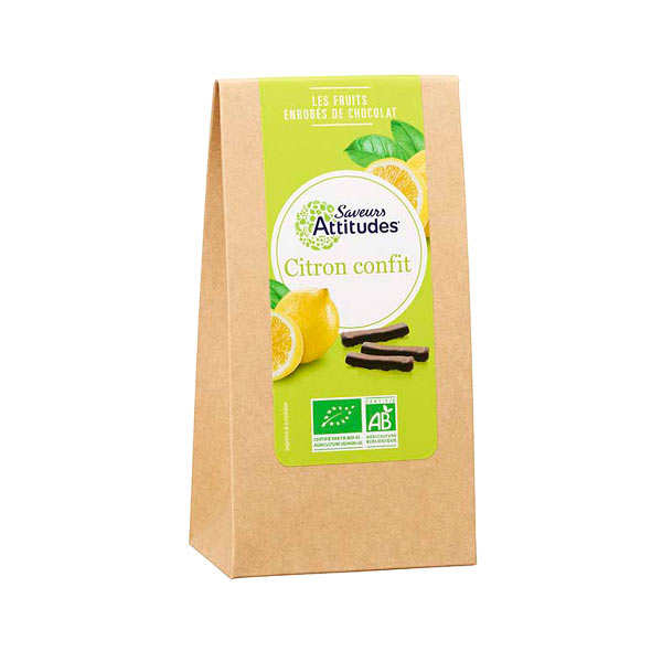 Lamelles de citron confit enrobées de chocolat noir bio