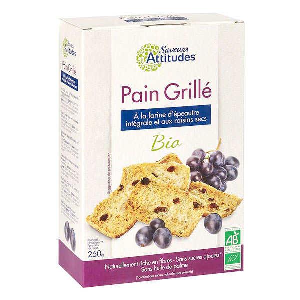 Pain grillé bio à la farine d'épeautre intégrale et raisins