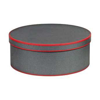 - Round Hatbox - Grey and Red