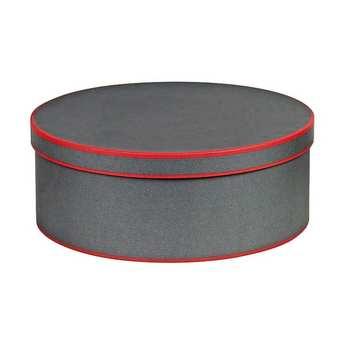 - Boite à chapeau ronde grise et rouge