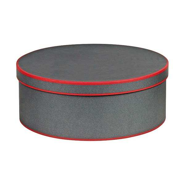 Round Hatbox - Grey and Red