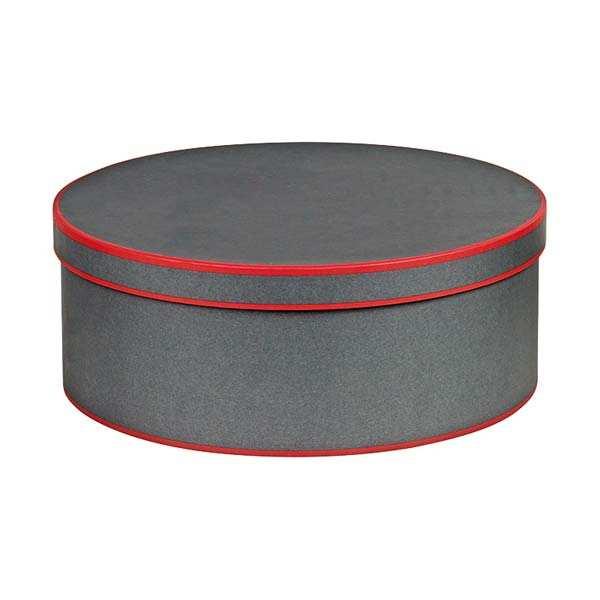Boite à chapeau ronde grise et rouge