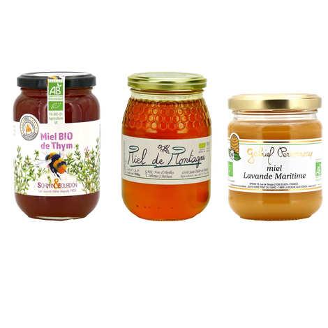 - Assortment of 3 organic honeys