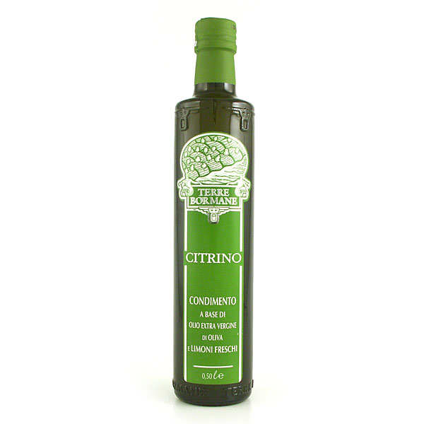 Extra virgin olive oil with fresh lemons