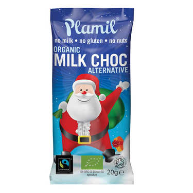 Petit père Noël en chocolat bio sans lactose et sans gluten