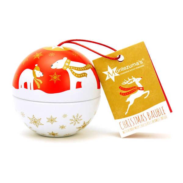 Boule de Noël à suspendre garnie de truffes chocolat Montezuma