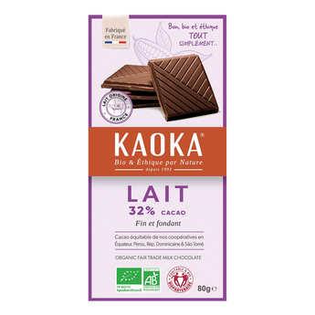 Kaoka - Tablette de chocolat au lait 32% bio - Simply milk