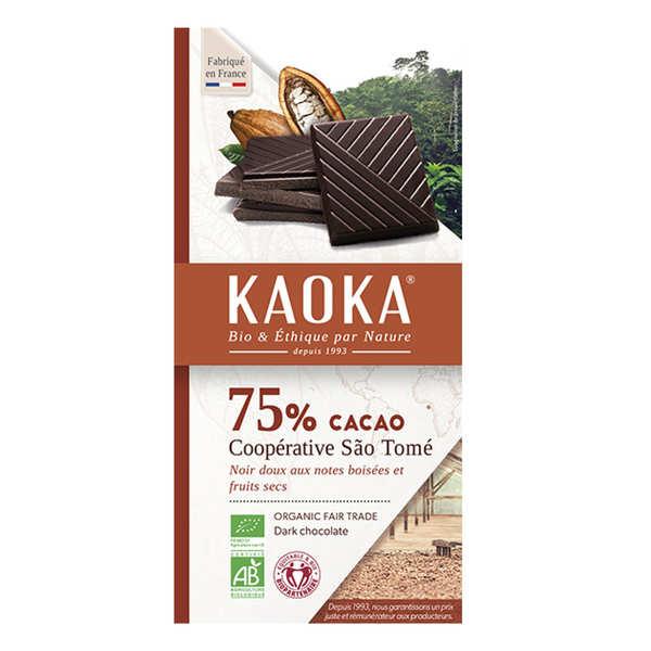 Tablette de chocolat noir 75% bio origine Sao Tomé