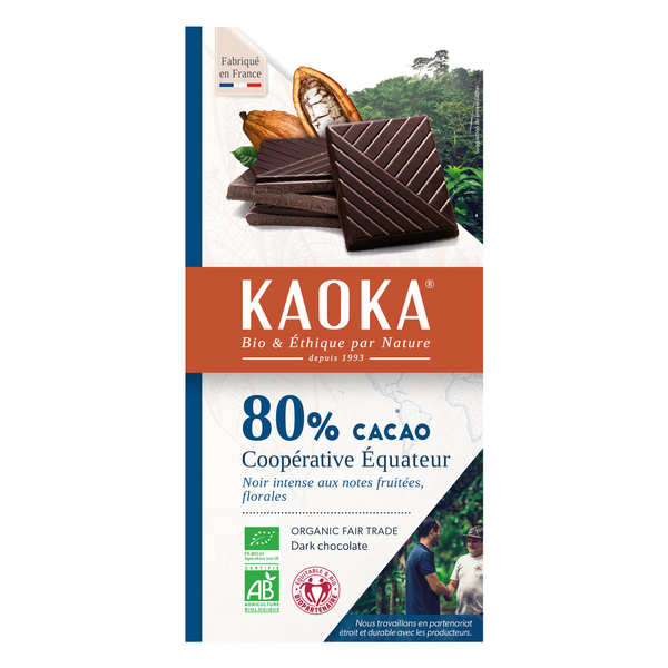Tablette de chocolat noir 80% bio origine Equateur