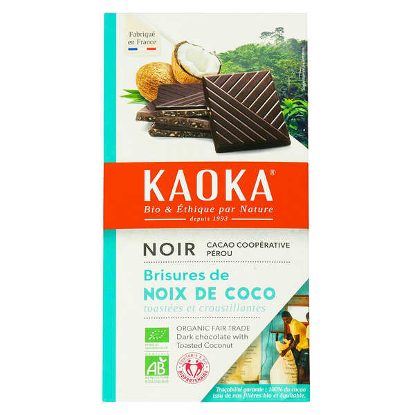 Organic Black Chocolate Bar 55% with Coconut