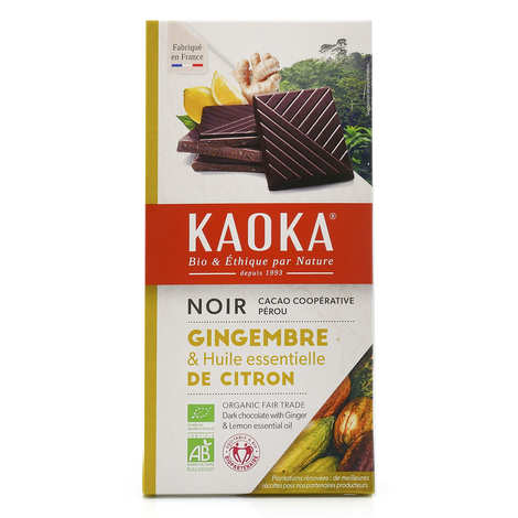 Kaoka - Tablette de chocolat noir 55% au citron et gingembre bio