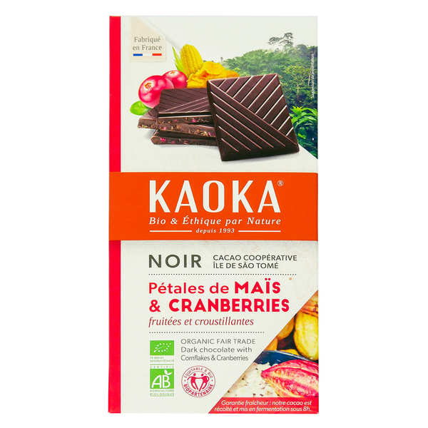 Organic Black Chocolate Bar 66% with Cereals and Cranberries