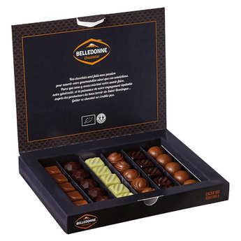 Belledonne Chocolatier - Coffret de 27 chocolats bio - assortiment noir lait et blanc
