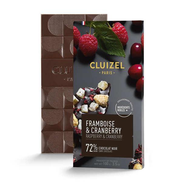 Tablette chocolat noir 72% framboise et cranberry Michel Cluizel