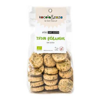 Biscuiterie Kocolo et zaza - Biscuit salé au thym géraniol bio sans gluten et sans lactose