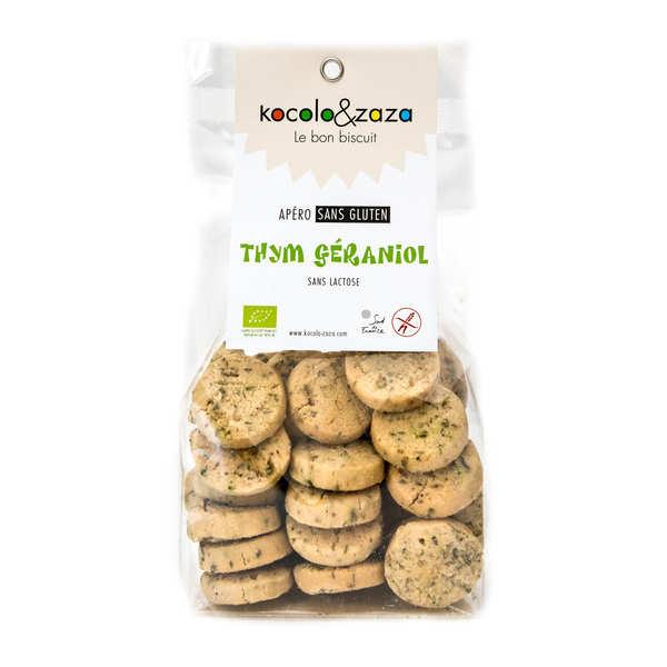Biscuit salé au thym géraniol bio sans gluten et sans lactose