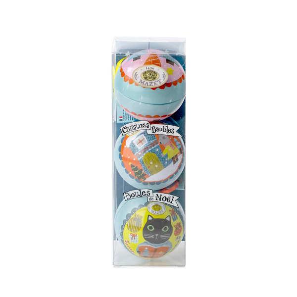 Boules de noël garnies - la cocotte paris n°2 - etui de 3 boules