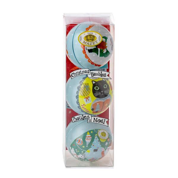 Boules de Noël en métal garnies de gourmandises Mazet - Décor 1