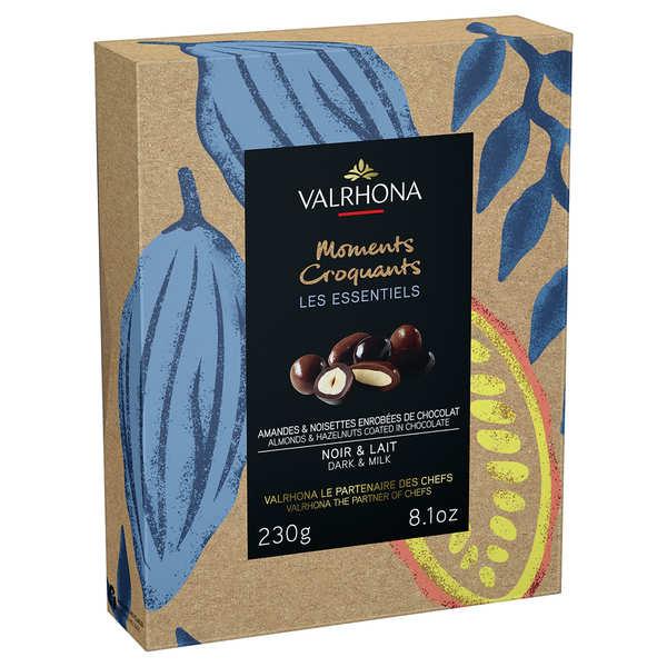 Coffret amandes et noisettes grand cru chocolat noir et lait - Valrhona