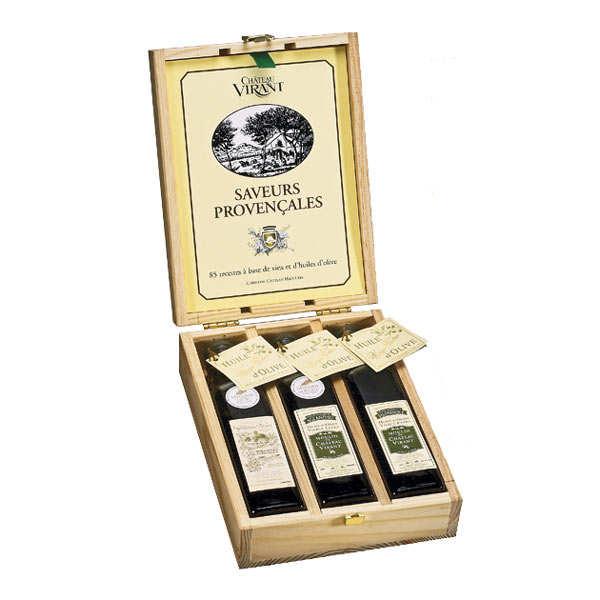 Coffret bois découverte 3 huiles Château Virant