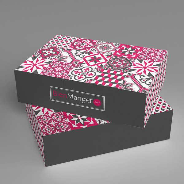 Boite cadeau BienManger.com décorée grise et rose