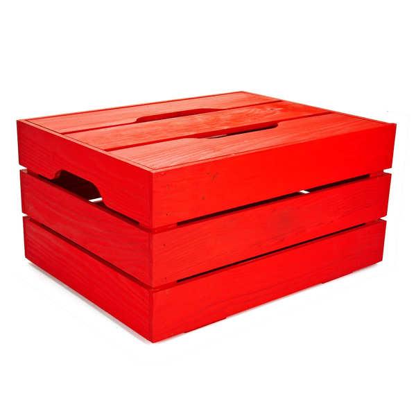 Coffre bois rouge avec couvercle amovible - 44x34x22cm