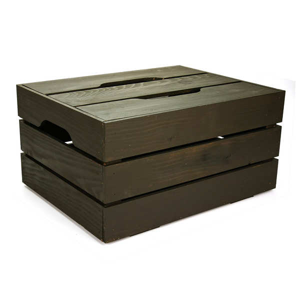 Grey Wooden Crate with Lid - 44x34x22cm