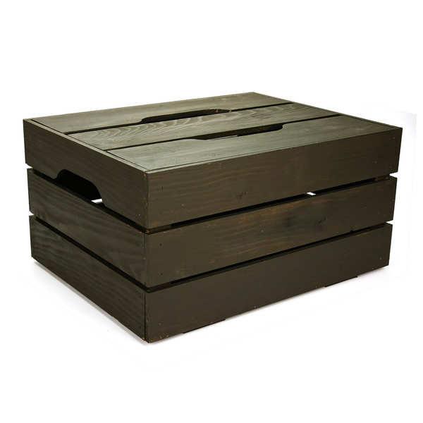 Coffre bois gris avec couvercle amovible - 44x34x22cm