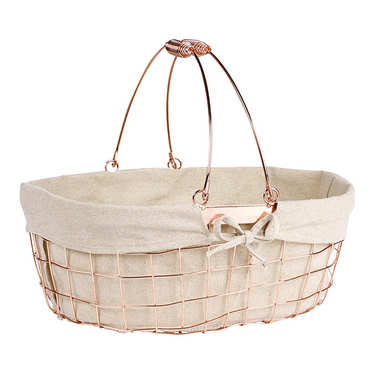 Ovale Basket - Copper Metal and Fabric