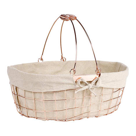- Ovale Basket - Copper Metal and Fabric