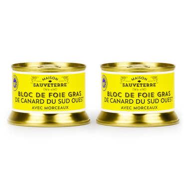 Lot de 2 blocs de foie gras de canard avec morceaux du Sud-Ouest (IGP)