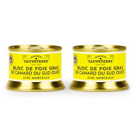 Maison Sauveterre - Lot de 2 blocs de foie gras de canard avec morceaux du Sud-Ouest (IGP)