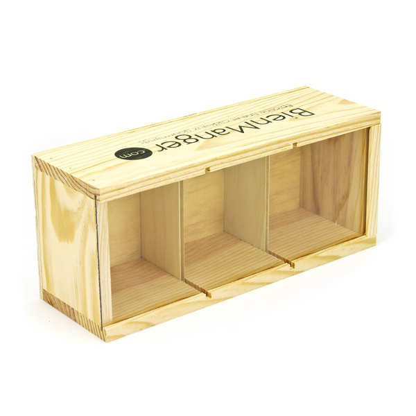 Wooden box for 3 preserve (or honey) jars