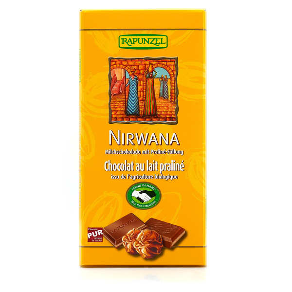 Organic and Vegan Praline and Milk Chocolat Bar Nirwana