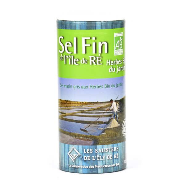 Salière de sel fin de l'Ile de Ré aux herbes bio du jardin