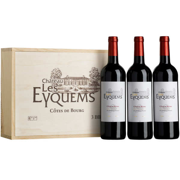 Château Les Eyquems - wooden box of 3 bottles