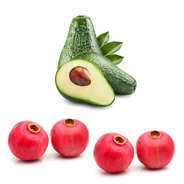 Set of 5 avocados and 4 pomegranates