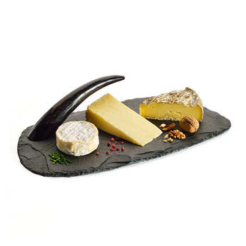 On The Rocks - Anti-Stain Slate Plate with Its Horn Handle