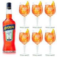 Apérol - Lot Aperol 15% + 6 verres à pied