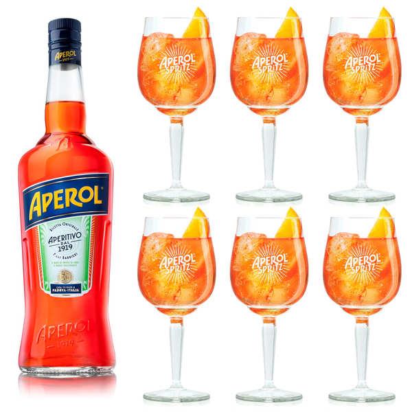Lot Aperol 15% + 6 verres à pied