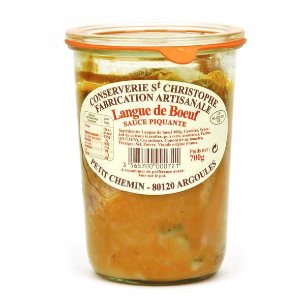 Langue de bœuf sauce piquante aux carottes