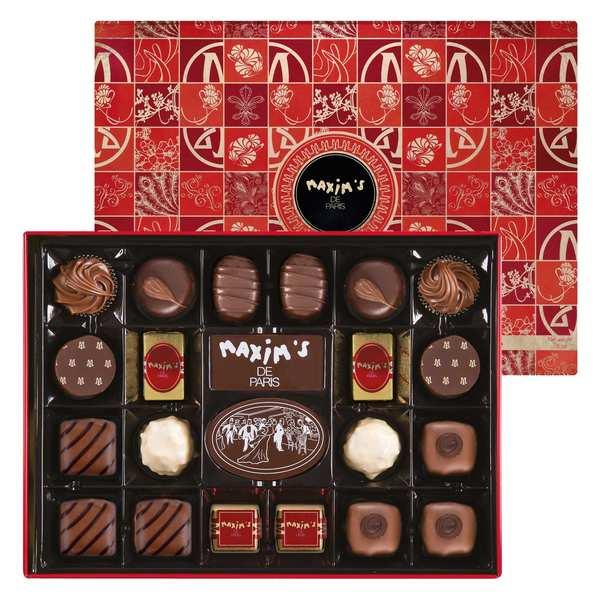 Assortiment de 22 chocolats Maxim's en boîte fer